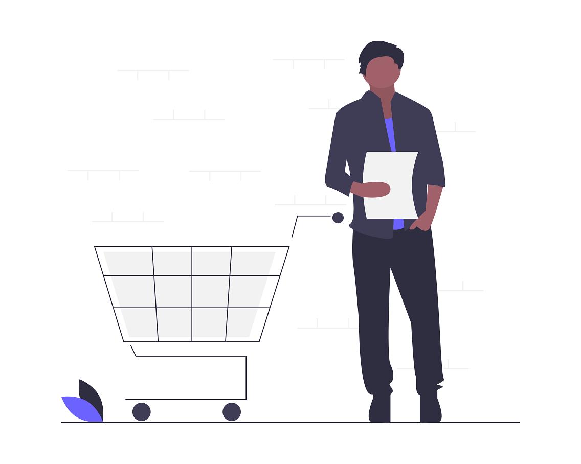 hombre con lista de productos para agregar a su carrito de compras