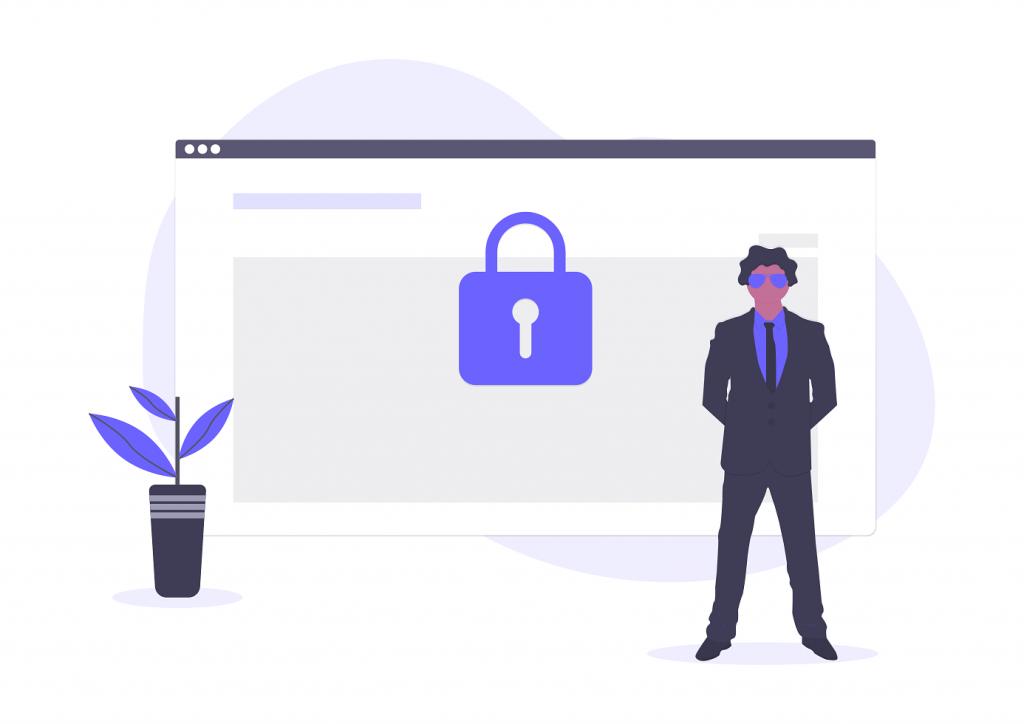 hombre cuidando la seguridad de pagos electronicos en una pagina web